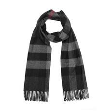 Burberry Large Classic Cashmere Scarf Charcoal Check