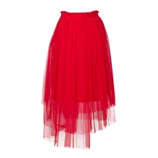 Msgm Asymmetric Tulle Skirt Red