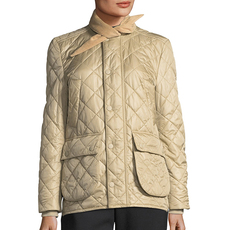 Balenciaga Quilted Tie-Neck Hunter Jacket Beige