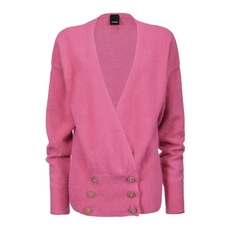 Pinko Double-Breasted Angora Cardigan Pink