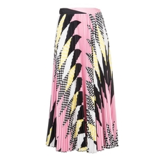 Msgm Abstract Print Pleated Long Skirt