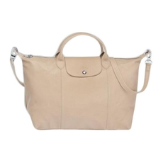 Longchamp Le Pliage Cuir Top-Handle L Beige
