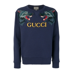 Gucci Cotton Sweatshirt With Wolf Head Appliques