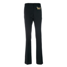 Gucci Moth Embroidered Skinny Flared Trousers Black