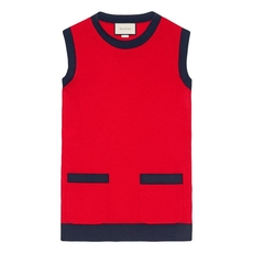 Gucci Contrast Wool Knitted Top Red