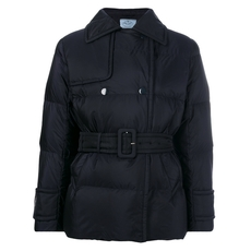 Prada Belted Padded Jacket Blue