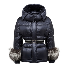 Prada Fur-Trimmed Down Jacket Navy