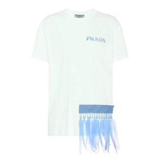 Prada Feather-Trimmed Cotton T-Shirt Blue