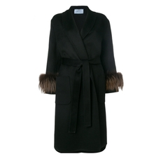 Prada Fox-Fur Trimmed Coat Black