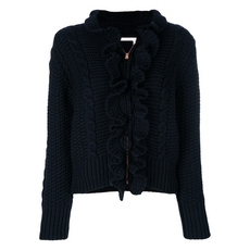 See By Chloe Knitted Ruffle Front Zip Cardigan