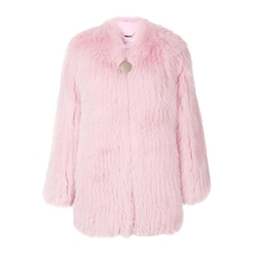 Givenchy Fox Fur Collarless Jacket Pink