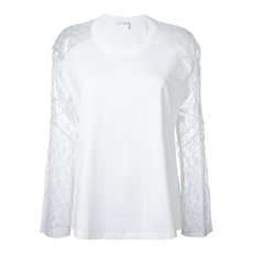 Chloe Lace Sleeve Top Optic White