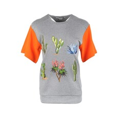 Stella Mccartney Embroidered Plants T-Shirt Grey