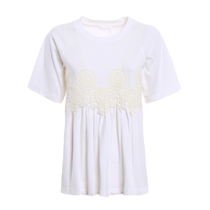 Chloe Embroidered Flared T-Shirt White
