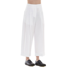 Celine Pleated Front Cropped Pants White