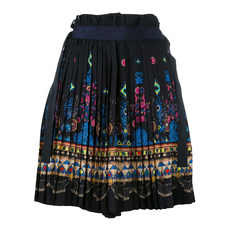 Sacai Tribal Lace Wrap Front Shorts Navy
