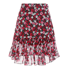 Saint Laurent Amemone Print Ruffle Skirt Multicolor