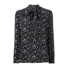 Saint Laurent Ruffled Neck And Cuffs Star Print Top Black