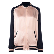 Saint Laurent Oversized Teddy Baseball Jacket Pink/Black