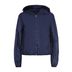 Prada Full Zip Nylon Hooded Windbreaker Navy Blue