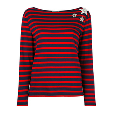 Saint Laurent Strip And Crystal Details T-Shirt Blue/Red