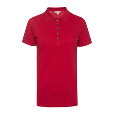 Burberry Check Trim Polo Tee Red