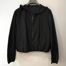 Prada Hooded Zip-Front Windbreaker Black