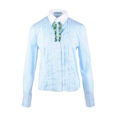 Prada Jewel Embellished Shirt Light Blue/White