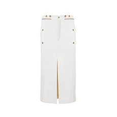 Chloe Front And Back Slit Twill Biker Skirt White