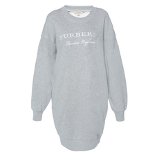 Burberry Logo-Embroidered Dress Grey