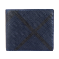 Burberry London Check And Leather International Bi-Fold Wallet Navy