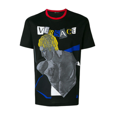 Versace Man Graphic Print T-Shirt Black
