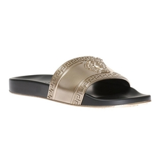 Versace Rubber Slides With Medusa Gold