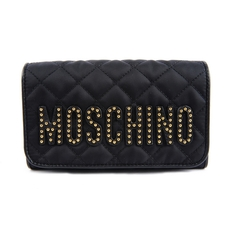Moschino Studded Logo Quilted Chain Wallet Black/Gold