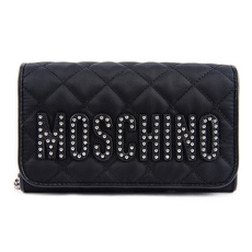 Moschino Studded Logo Quilted Wallet On Chain Black/Silver