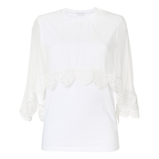 Chloe Lace Trim Cropped T-Shirt White