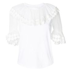 Chloe Flounce Collar Top White