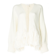 Chloe Fringed Cardigan White