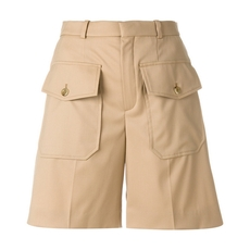 Chloe Double Flap Pocket Shorts Seed Brown