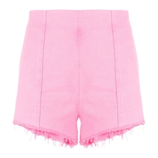 Msgm Side Zipper High-Waisted Shorts Pink