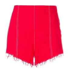 Msgm High-Waisted Denim Short Shorts Red
