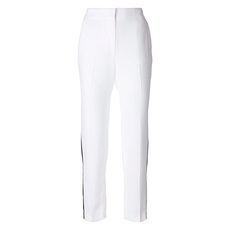 Msgm Side Stripe Loose-Fit Pants White