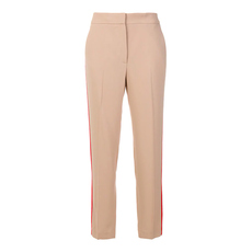 Msgm Striped Side Loose-Fit Pants Beige