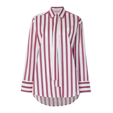 Msgm Striped Tie Neck Blouse Red