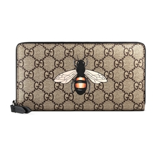 Gucci Bee Print Gg Supreme Zip Around Wallet Beige