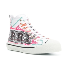 Bueberry Doodle Print Cotton High-Top Trainers Optic White