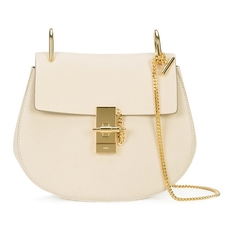 Chloe Drew Shoulder Bag In Small Grain Lambskin Abstract White