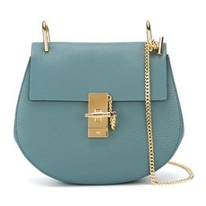 Chloe Drew Shoulder Bag In Small Grain Lambskin Cloudy Blue