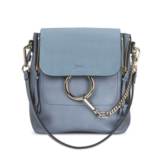Chloe Small Faye Backpack In Smooth & Suede Calfskin With Removable Straps Cloudy Blue
