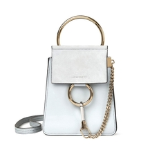 Chloe Faye Small Bracelet Bag In Smooth & Suede Calfskin Airy Grey